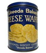 Vint 1930's Uneeda Bakers Cheese Wafer Litho'd Tin Can, National Biscuit Co. Ny