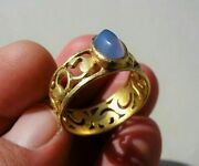 Ancient Middle Ages Solid Gold Finger Ring Openwork Loop And Aquamarine Gemstone