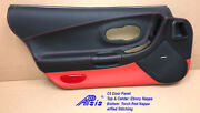 C5 Door Panel In Combo Of Ebony And Torch Red Nappa W/red Stitching