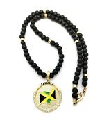 Iced Gold Pt Jamaica Medal Pendant And 8mm 18 Or 20 Wooden Wood Bead Necklace