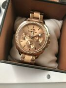 250 Coach Womens Boyfriend Rose Gold Crystal Dial Leather Band Watch 14503135