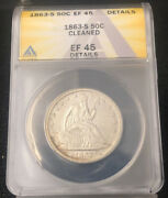 1855 50c Anacs Vf 20 Details Scratched Cleaned Liberty Seated Half Dollar
