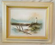 H.gailey Oil Painting Of Lighthouse And Seashore With Seagulls Framed
