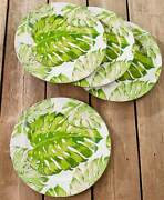 Sets Of 4 Tropical Paradise Palm Fronds Plates Hawaiian Pineapple Chargers Set