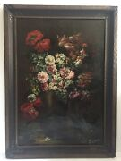 Beautiful Vintage Antique Italian Still Life With Flowers Oil On Canvas 42x30