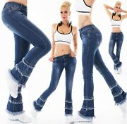 G Smack Womenand039s Layered Fray Hem Flared Denim Jeans - Small 3-5