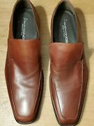 Men's Mike Konos Brown Leather Dress Slip-on Shoes Eu 43 Us 10 Made In Italy