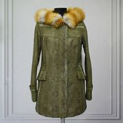 All Sizes Womenand039s Genuine Python Leather Real Fox Fur Collar Green Exotic Coat