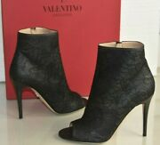 975 New Valentino Peep Toe Ankle Boots Lace Over Black Leather Heels Shoes 39