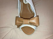 Unisa Bow Bowtie Cork Wedges Size 6m Cork Open Toe Shoes White And Tan
