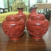 Set Of 4 Chinese Cultural Revolution Carved Cinnabar Jars And Vases