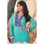 Minisha Lamba Suits-blue Faux Georgette Salwar Kameez With Embroidered And Lace