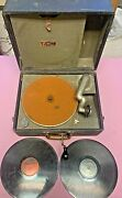 Antique Victor Talking Machine Gypsy Model Suitcase Phonograph Working