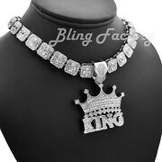Crowned King Pendant And 16 18 Full Iced Choker Bust Down Chain Hip Hop Necklace