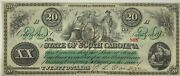 1873 State Of South Carolina 20 Obsolete Note Ink Cancelled Ch Unc Paper Money