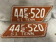 Vintage 1951 Tennessee License Plate Pair - Jefferson County Repainted