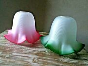 2 Pcs. Vintage Glass Lamp Shades Green And Pink Color Flower Pattern Glass Shade
