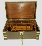 Rare Vintage Beautiful Work Box 19 Compartment With Lock And Key Multi Purpose