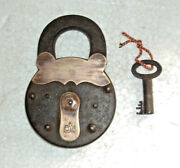 Old Big Iron Pad Lock With Original Key Working Condition Made In Germany