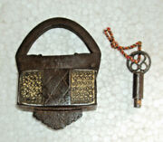 Old Handcrafted Iron Orginal Brass Fitted Pad Lock With Original Screw Key 001