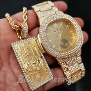 Iced Hip Hop Gold Pt Bling Luxury Metal Watch And 100 Bill Money Necklace Set