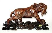 20c Chinese Woden Carved Sculpture On Base Lioness W. Prey And Cub Ish12