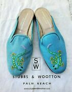 Stubbs And Wootton Gecko Light Blue Green Mule Slippers Loafers Shoes Sz 7.5 New