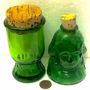 Two Old Green Clear Glass Wheaton Reproduction Bottles Gen. Washington And Classic