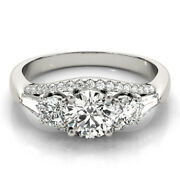 Round 1.38 Ct Natural Stunning Diamond Wedding Ring Solid 950 Platinum Size 7 8