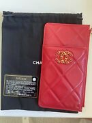New In Box Chanel19 Wallet Phone And Card Holder Red With Gold Hardware