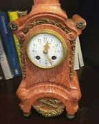 Vintage Gilt Louis Xv Style French Rouge Marble Mantel Clock Circa 1900-1915