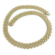 Italian Wide Tile Mesh Link Necklace 14k Yellow Gold 17.5 Inches 35.30 Grams