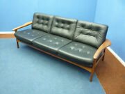 Very Beautiful Teak Leather Sofa 1960s Top Condition