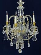 Crystal Miniature Chandelier 4 Lights With Gold Trim