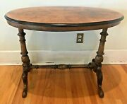 Antique Burl And Walnut Oval Center / Side Victorian Table