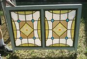 Stained Glass Window 43 X 28, Antique Double Panel