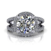 Natural 1.45 Ct Diamond Engagement Ring Solid 14k White Gold Rings Size 5 6 7 8