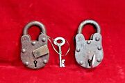2 Pc Iron Brass Lock And Key Old Antique Vintage Collectible Bd-6