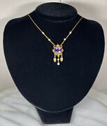 Victorian 18k Yellow Gold Antique Necklace Amethyst Natural Pearl Dangle Fringe
