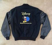 Disney Worldwide Services. Inc. Vintage Leather Bomber Jacket Mickey Mouse +gift
