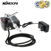 100-240v Professional Gravity Feed Dual Action Airbrush Air Compressor Kit X4l3
