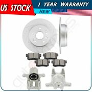 Rear Brake Rotors Calipers With Ceramic Pad For 2004 2005-2007 2008 Acura Tl