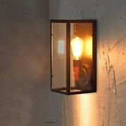 Vintage Retro Industrial Wall Sconce Light Glass Lamp Metal Frame Barn Fixture