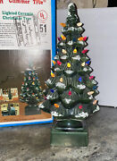 Vintage Ceramic Snow Flocked Glimmer Christmas Tree Lighted 17-1/4andrdquo Liberty Bell