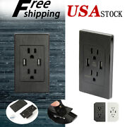 Lot Dual Usb Port Wall Socket Charger 15a Ac Power Receptacle Outlet Plate Panel