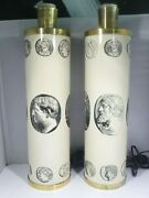 Mid Century Modern Pair Of Fornasetti Neoclassical Cameo Table Lamps