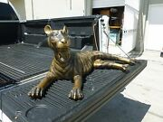 Large 70and039s Made For A Jungle Room Sitting Bronze Tiger Great Floor Decor - P