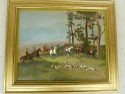 English Hunt Scene Painting Of Gentry On Horses Following Hounds By May