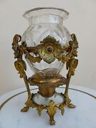 19th C French Cut Glass Vase W Heavy Dore Bronze Mount Of Satyrs