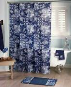Blue Prescott Croscill Classic Shower Curtain Floral Hooks Accessory Rug Towels